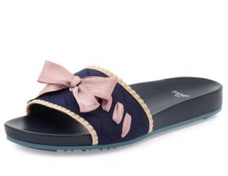 Fendi Knit Bow-Tie Slide Sandals