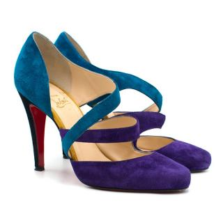 Christian Louboutin Blue and Purple Suede Pumps