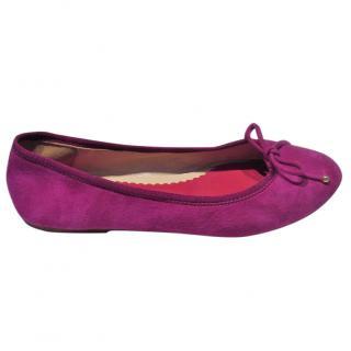 Carolina Herrera Fushia Pink suede ballet pumps