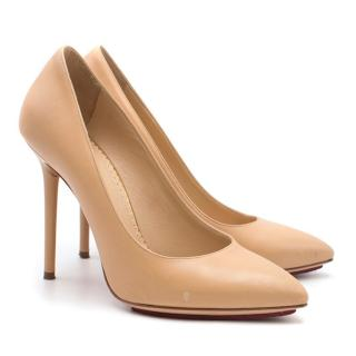 Charlotte Olympia Nude Leather Monroe Pumps