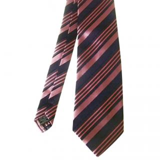 Brioni Pink and Navy Blue Striped Silk Necktie
