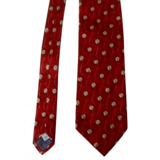 Givenchy Brick Red Leaves Logo Motif Silk neck Tie