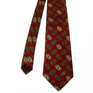 Dunhill Red Compass Motif Silk Neck Tie