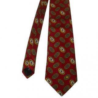 Dunhill Red Compass Motif Silk Neck Tie