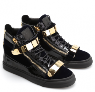 Giuseppe Zanotti patent leather and velvet high top trainers