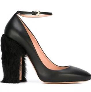 Rochas Fur-Heel Ankle-Strap Pumps