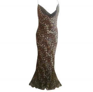 Jenny Packham Leopard Print Chiffon Sequin Gown
