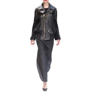 Junya Watanabe Black Faux Leather & Wool Biker Jacket