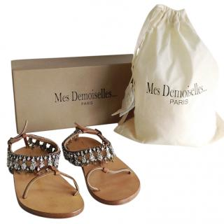 Mes Demoiselles Crystal Salome Tan Leather Flat Sandals UK3 EUR36
