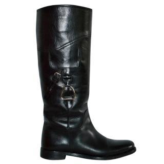 Ralph Lauren Collection Black Stirrup Riding Boots