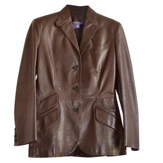 Ralph Lauren Collection brown leather jacket