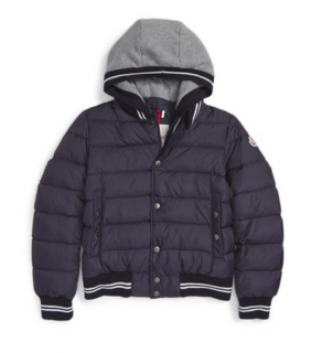 Moncler Boy's 'Auberie' Hooded Down Varsity Jacket