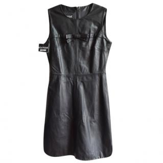 Moschino Boutique black sleeveless leather dress