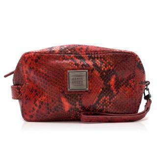Herve Leger Red Python Wash Bag