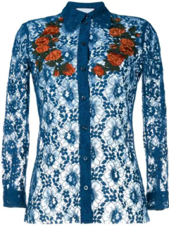 Gucci Sheer Blue Lace Embroidered Top