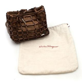Salvatore Ferragamo Mini Wooden Drawstring Tote