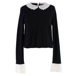 Dolce & Gabbana Black Cashmere Crochet Trim Jumper