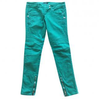 Balmain Green Biker Jeans