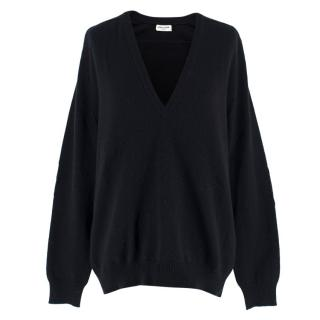 Saint Laurent Cashmere Black V-Neck Slouchy Jumper