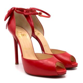 56c17bed52d Christian Louboutin Red Peep-toe Bow Embellished Sandals