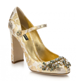 Dolce & Gabbana Gold Floral Brocade Mary Jane Pumps