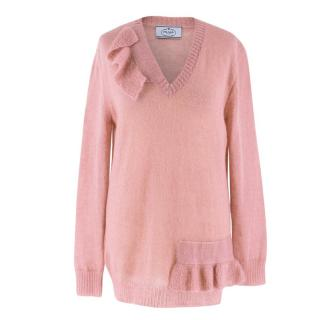 Prada Mohair-blend Pink V-neck Jumper