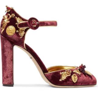 Dolce & Gabbana Embellished velvet sandals