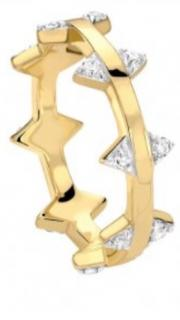 Missoma 18ct Gold Vermeil nexus white zircon pave double arrow ring