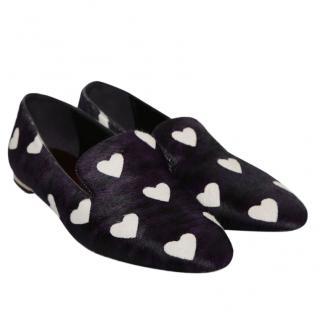 Burberry Prorsum Calf Hair Heart Print Shoes