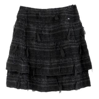 Chanel Black Fantasy Tweed Layered Skirt