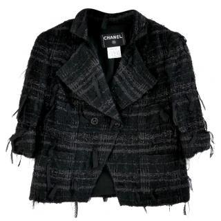 Chanel Black Fantasy Tweed Crop Jacket