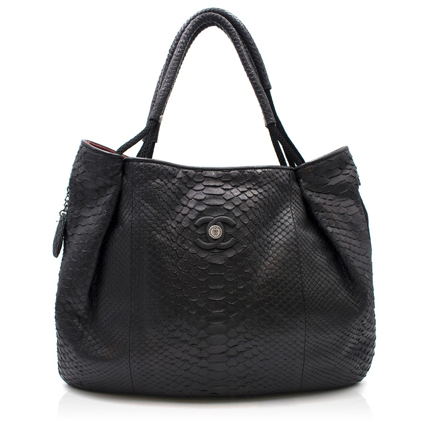 Chanel Black Python Large Classic Shopper Tote