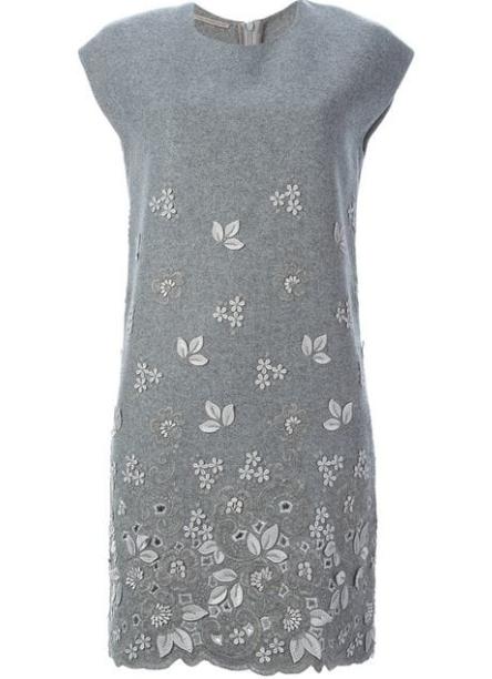 Ermanno Scervino Grey Wool Floral Applique Dress