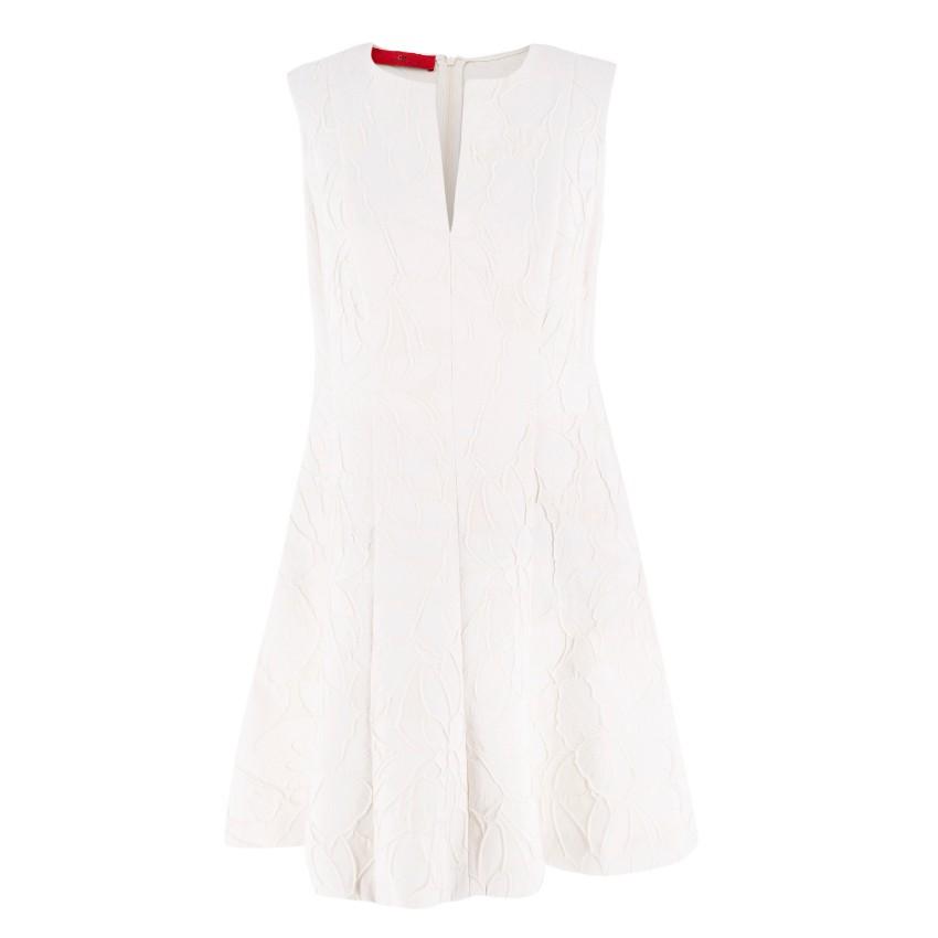 Carolina Herrera Cream Floral A Line Dress