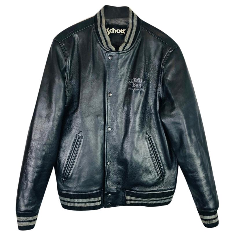 dc0d40691 Schott NYC Leather Varsity Bomber Jacket