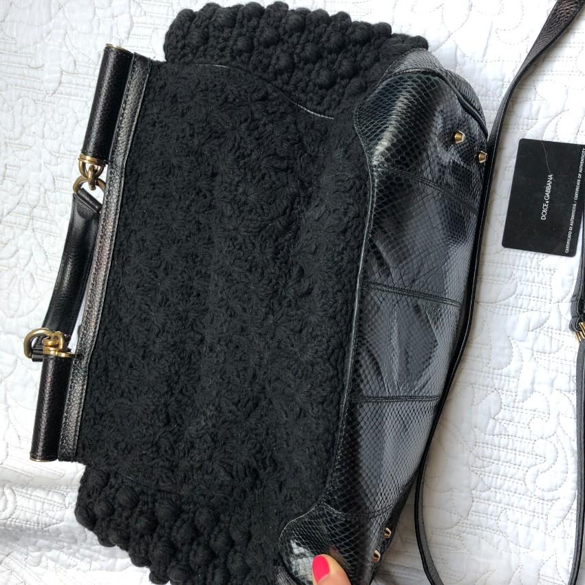 Dolce Gabbana Python-Trimmed Crochet Miss Sicily Bag. 27. 12345678910 8d9cb58f1e