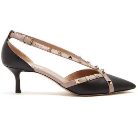 Valentino Rockstud Cross Strap Leather D'orsay Shoes