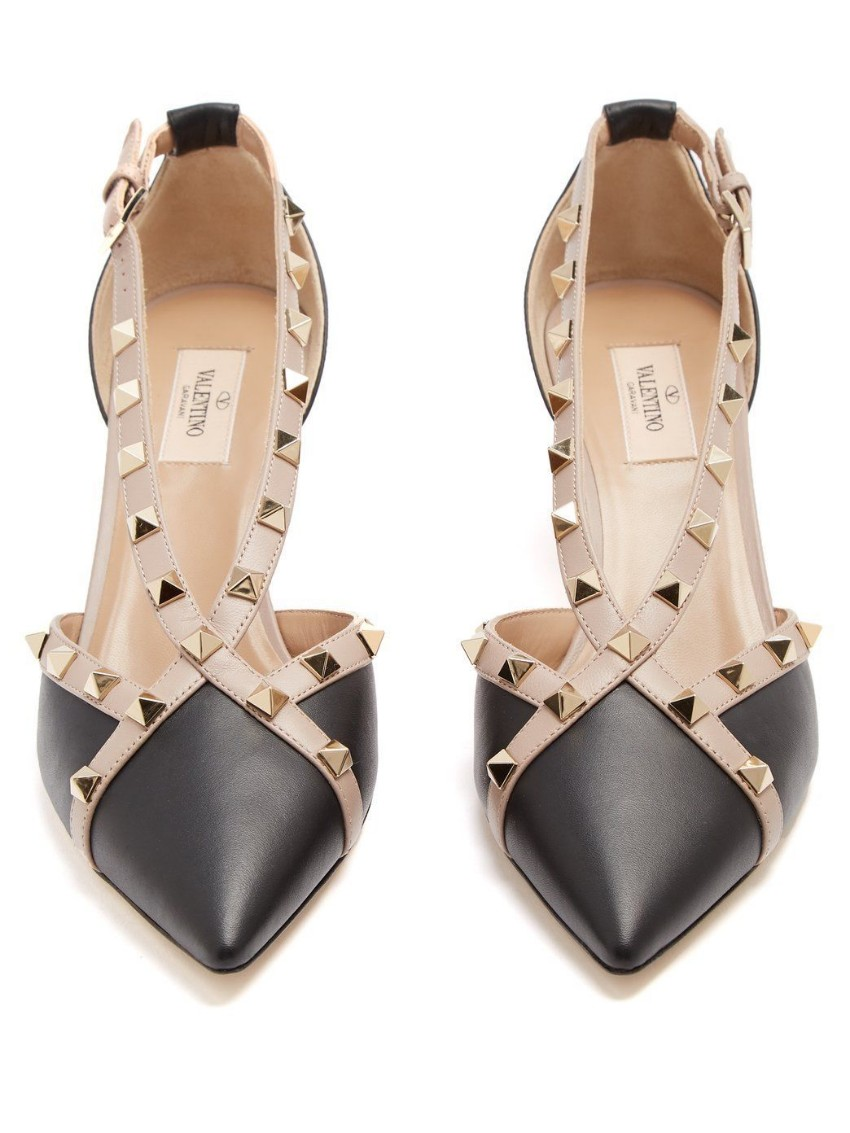 af7a3accd372 Valentino Rockstud Cross Strap Leather Dorsay Shoes157307 | HEWI London