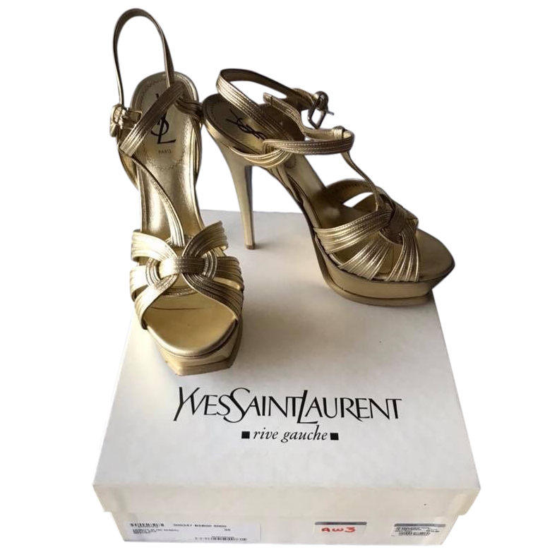 556990a2996 Ysl Tribute Gold Leather Sandals   HEWI London