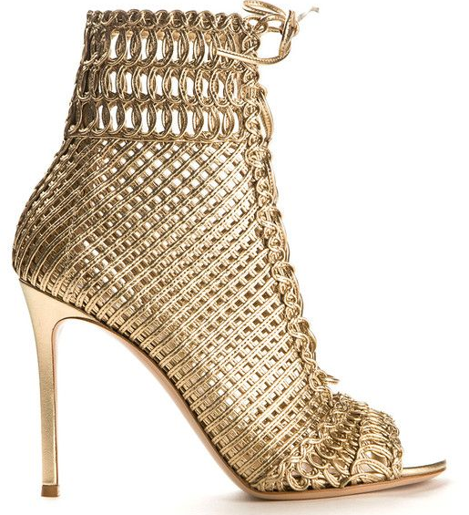 Gianvito Rossi 'Marnie' Woven Leather Sandals.