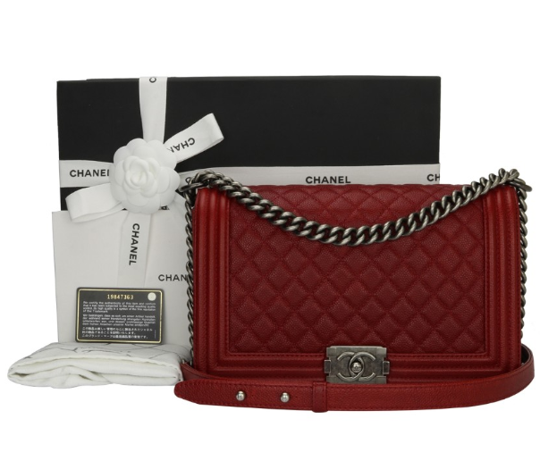 34c18705793767 Chanel Red Caviar New Medium Boy Bag | HEWI London