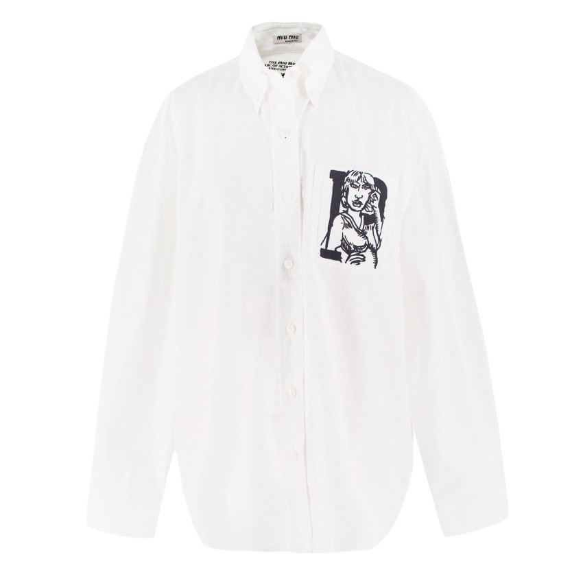 Miu Miu Pocket Art White Cotton Shirt