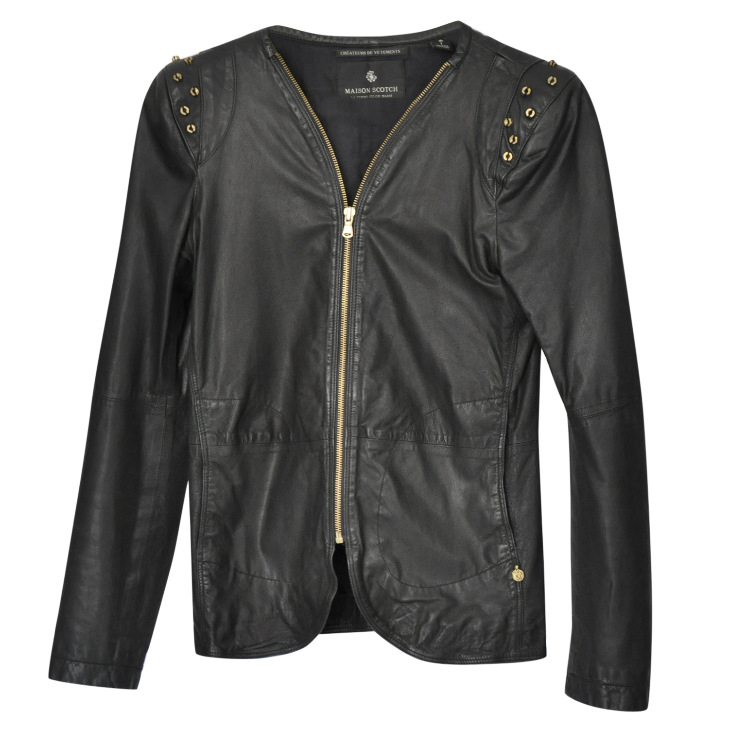 Maison Scotch Leather Studded Jacket