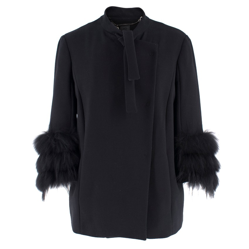 Tru Trussadi Black Fur Cuffed Jacket