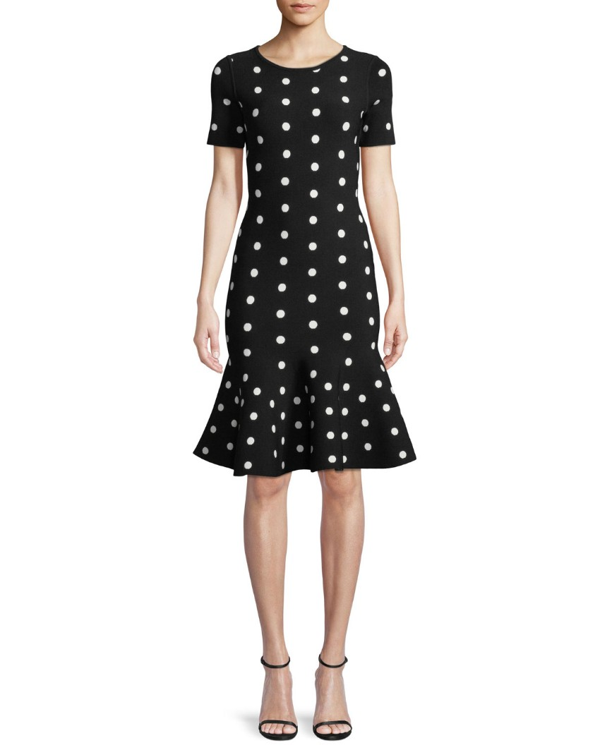 Milly Mermaid Black Polkadot Dress