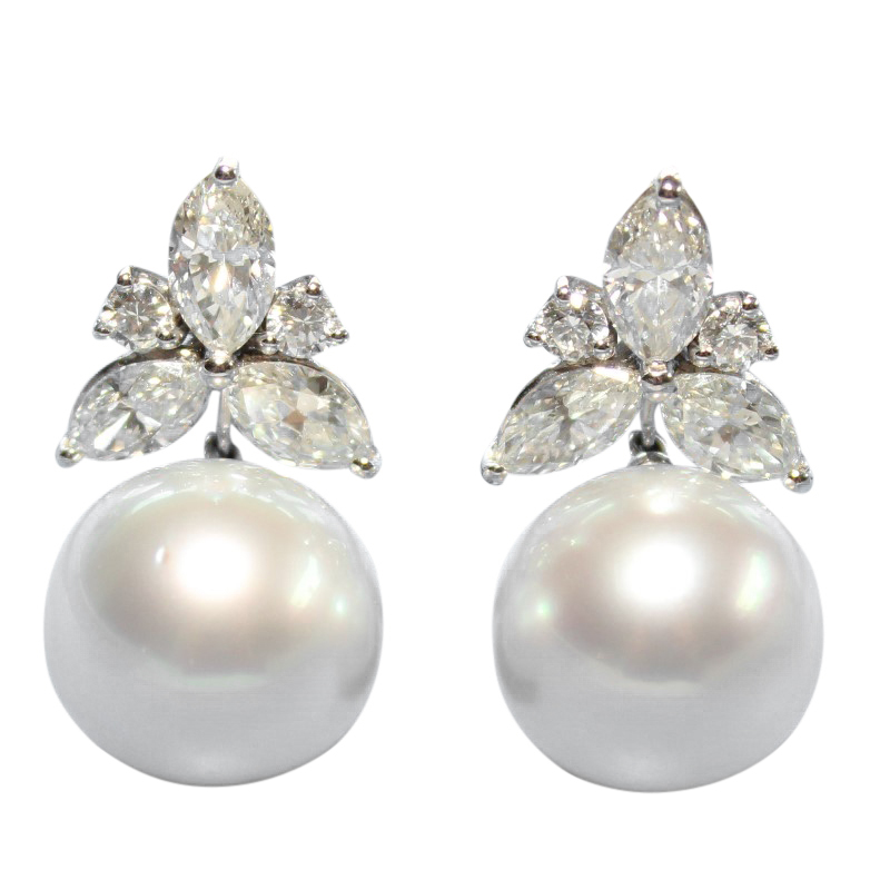 Bespoke 5ct Marquise Cut Diamond & South Sea Pearl Earrings