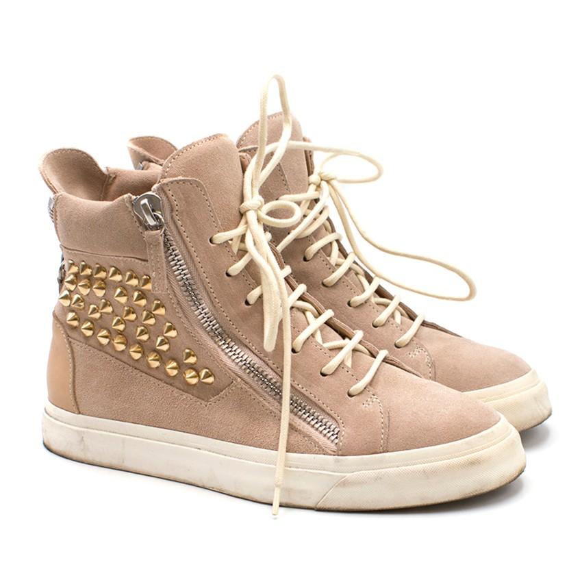Giuseppe Zanotti Suede Studded Hi-top Sneakers