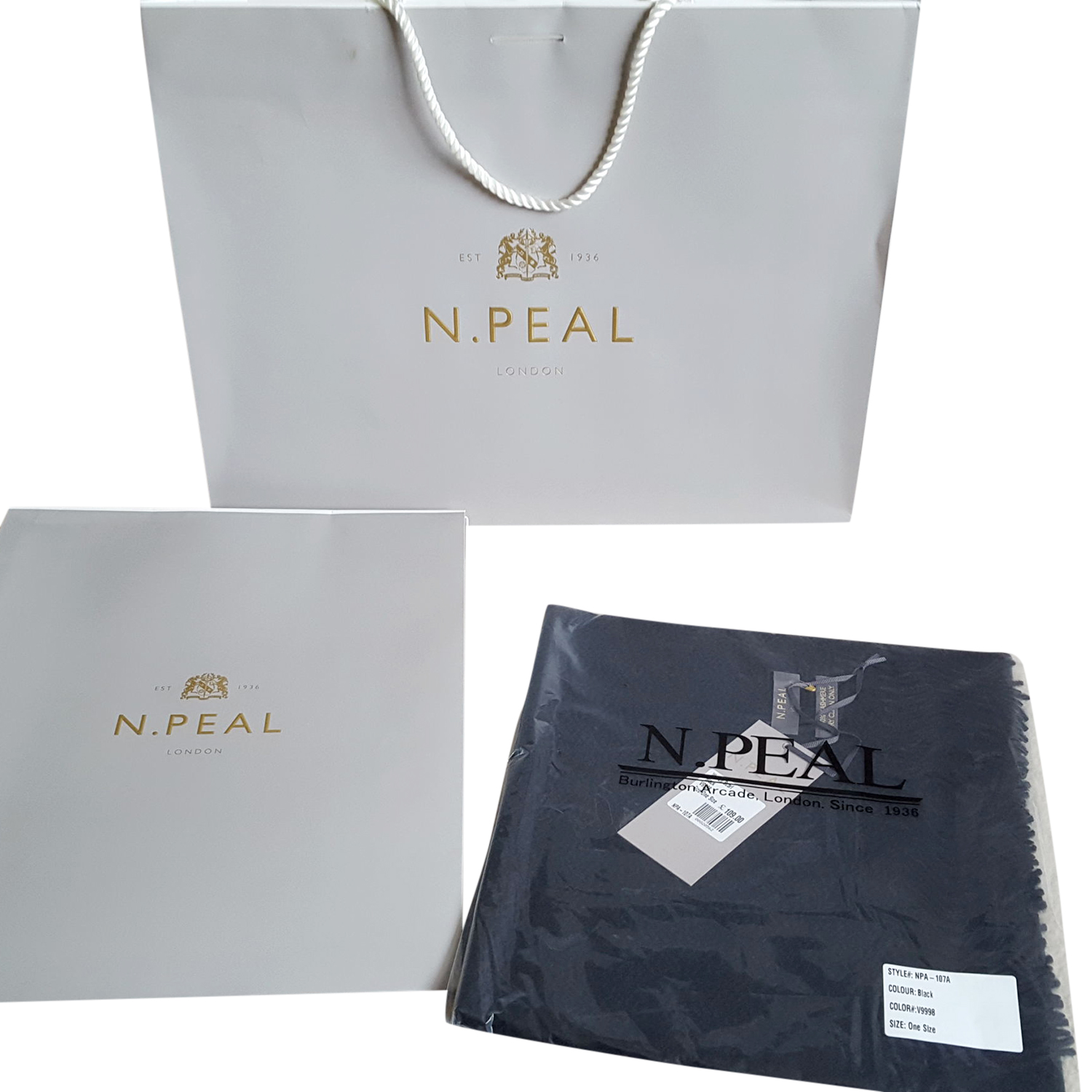 N.Peal black cashmere scarf