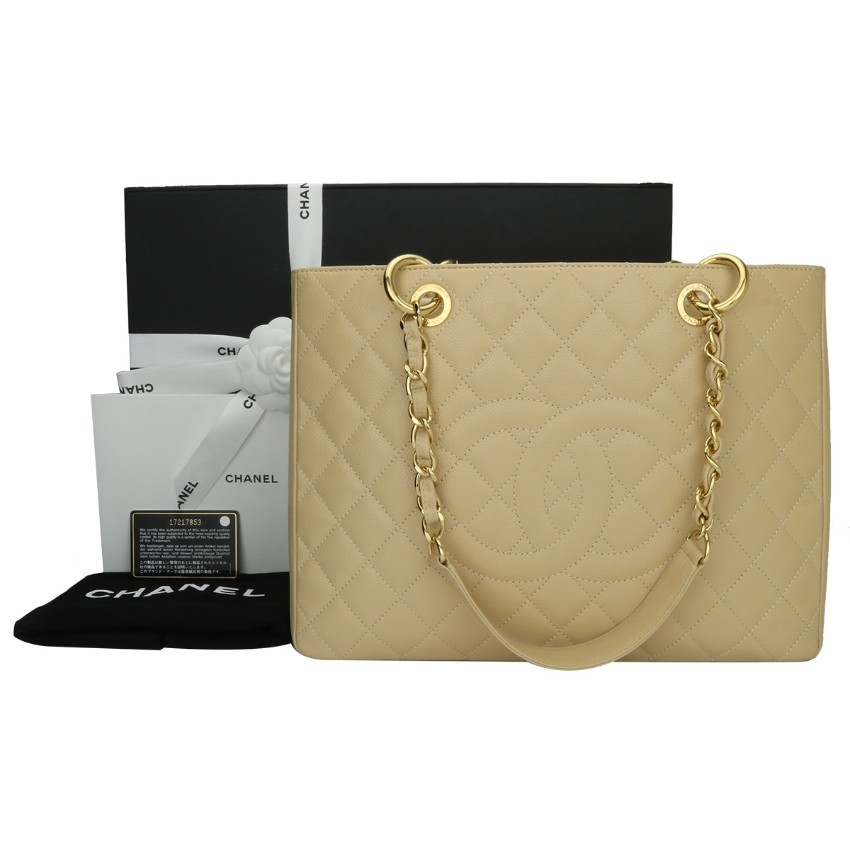 7e8a50eb3fd8 Chanel Beige Clair Caviar Grand Shopping Tote Gst Bag