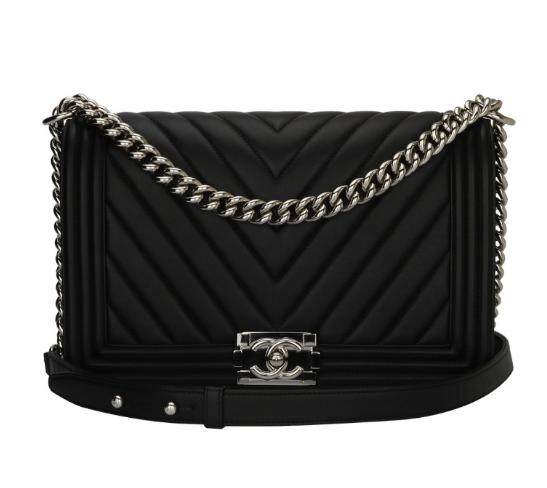 048674ef6c2f Chanel Black Calfskin New Medium Chevron Boy Bag 1 | HEWI London